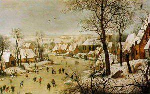 Zimowy pejzaż z łyżwiarzami i pułapką na ptaki