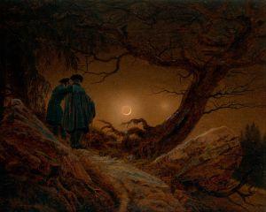 Dwaj mężczyźni kontemplujący księżyc