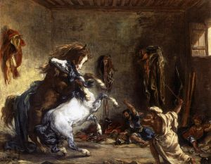 Konie arabskie walczące w stajn